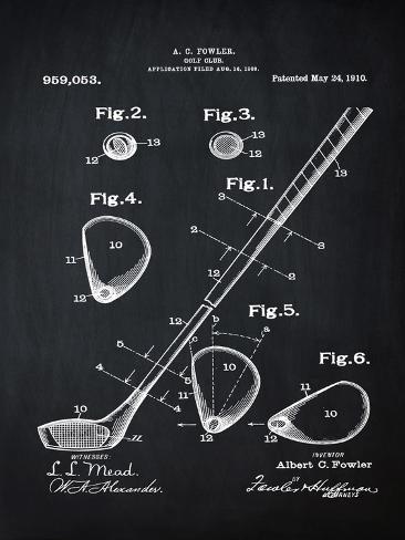 Golf Club, 1909-Blue II Stretched Canvas Print