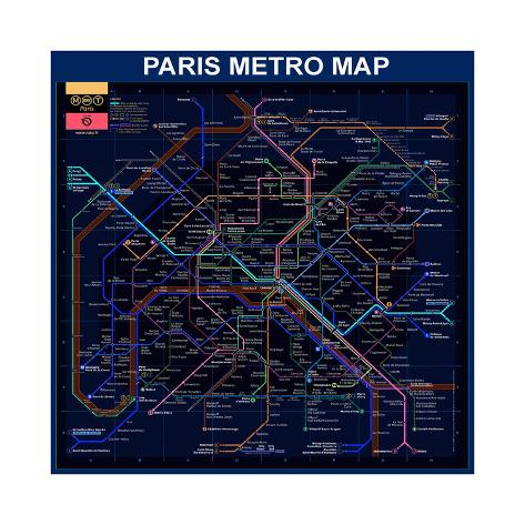 Paris Metro Map Blue Giclee Print By Bill Cannon AllPostersca - Paris metro map print
