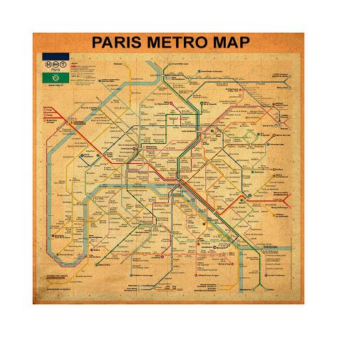 Paris Metro Map Orange Giclee Print By Bill Cannon AllPostersca - Paris metro map print