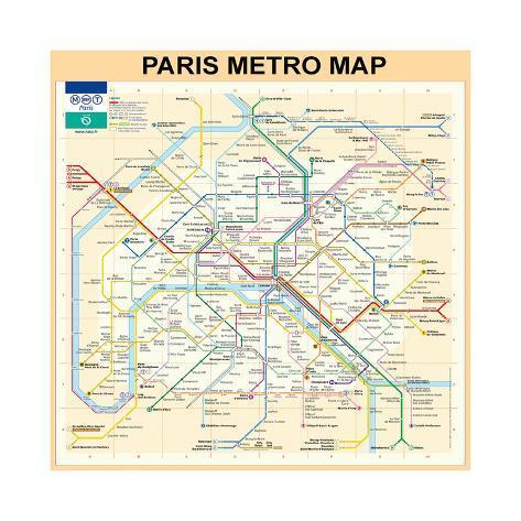 Paris Metro Map Peach Giclee Print By Bill Cannon By AllPostersie - Paris metro map print