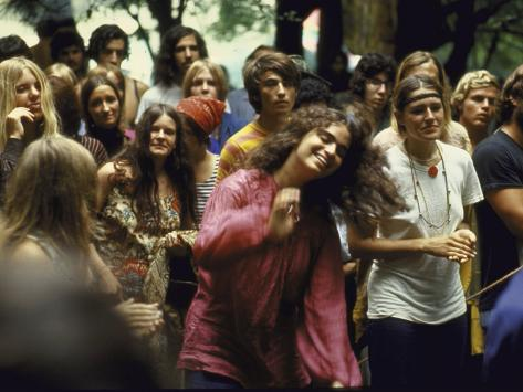 Psylvia, Dressed in Pink Indian Shirt Dancing in Crowd, Woodstock Music and Art Festival Photographic Print