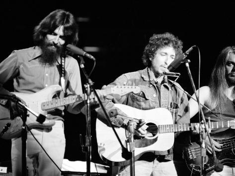 George Harrison, Bob Dylan and Leon Russell Performing for Bangladesh at Madison Square Garden Premium Photographic Print