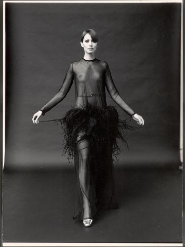 Model Wearing See Through Dress Designed by Yves St. Laurent, at New York City Fashion Show Photographic Print