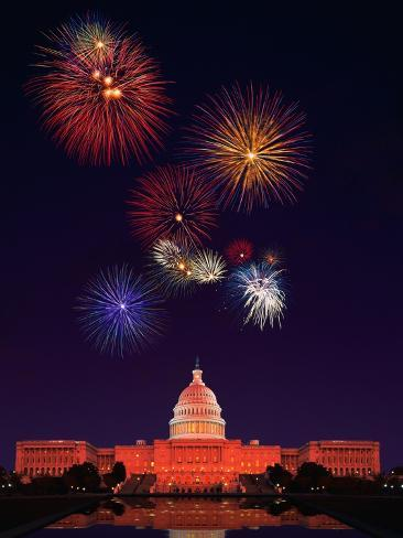 United States Capitol Building and Fireworks Photographic Print