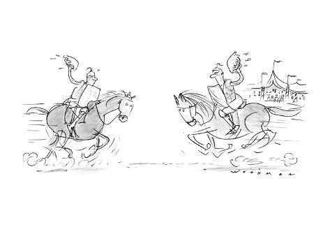 Two knight son horses riding towards eachother with pies rather than joust… - New Yorker Cartoon Premium Giclee Print