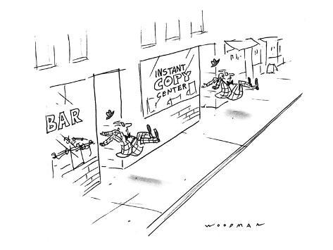 Two men being kicked out of stores, one is a bar, the other an 'Instant Co… - New Yorker Cartoon Premium Giclee Print
