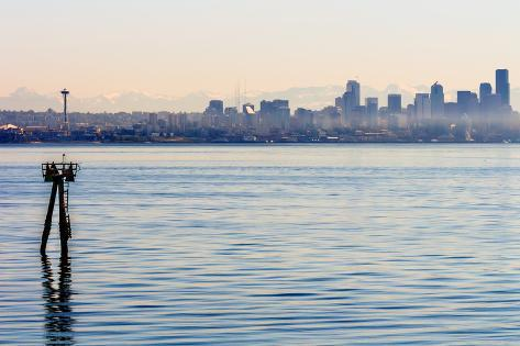 Channel Marker Seattle Skyline Puget Sound Cascade Mountains Washington State Photographic Print
