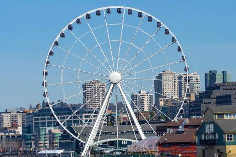 Ferris Wheel Buildings Waterfront Seattle Washington Photographic Print
