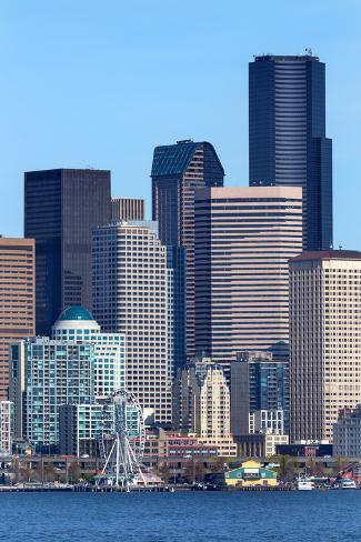 Seattle Towers Buildings Waterfront Cityscape Washington Photographic Print