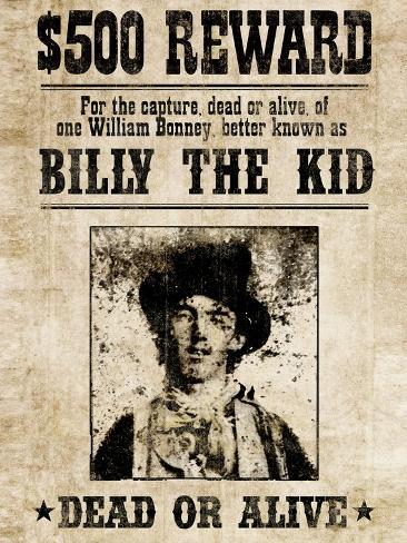 Billy The Kid Western Wanted ポスター