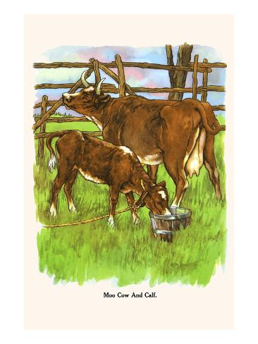 Moo Cow and Calf Art Print