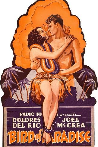 Bird of Paradise, Dolores Del Rio, Joel McCrea on die cut display, 1932 Art Print