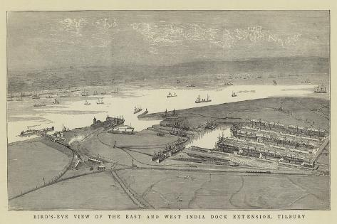 Bird'S-Eye View of the East and West India Dock Extension, Tilbury Giclee Print