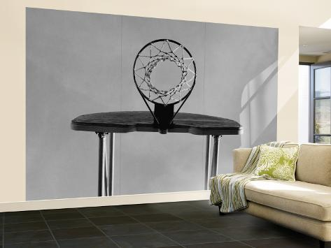 Black and white basketball hoop wall mural large at for Basketball mural wallpaper