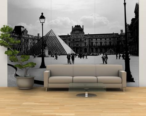 Black and White, Exterior, the Louvre, Paris, France Wall Mural – Large
