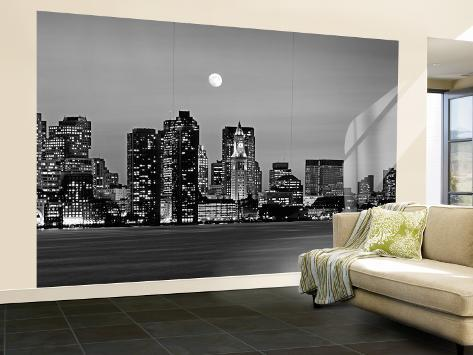 Black and White Skyline at Night, Boston, Massachusetts, USA Wall Mural – Large