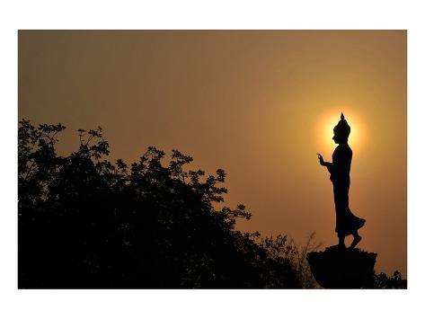 Black Buddha Silhouette atDusk Stampa artistica