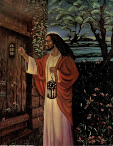 Black Jesus Christ Knocking religious Mini Poster