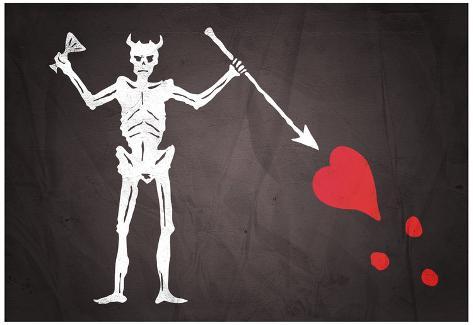 Blackbeard's Pirate Flag Print Poster Poster