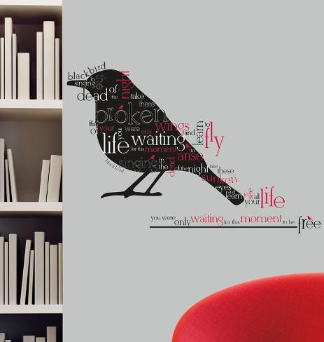 Blackbird Beatles Quote Peel u0026 Stick Wall Decals & Blackbird Beatles Quote Peel u0026 Stick Wall Decals Wall Decal - at ...