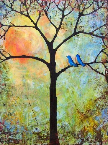 Tree Print Art Birds Sunshine Bluebirds Premium Giclee Print