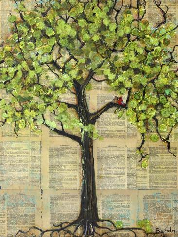 Two Red Cardinal Love Birds in a Tree Art Print