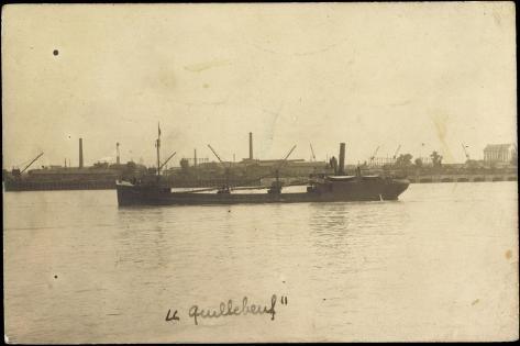 Blick Auf Den Tanker Le Quillebeuf, Hafen, Kräne Stampa giclée