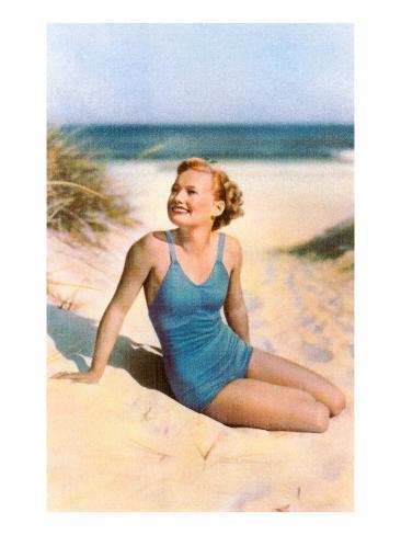 Blonde in Blue One-Piece in Dunes Art Print