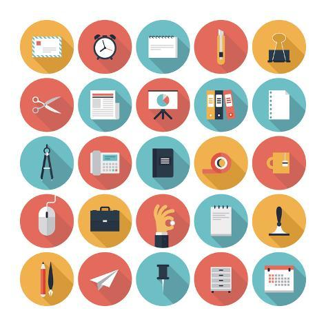Business and Office Flat Icons Set Art Print