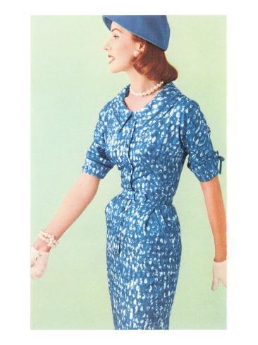 Blue Fifties Dress Art Print