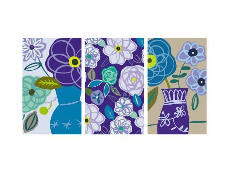 Blue Flower Swirls Triptych Väggdekal