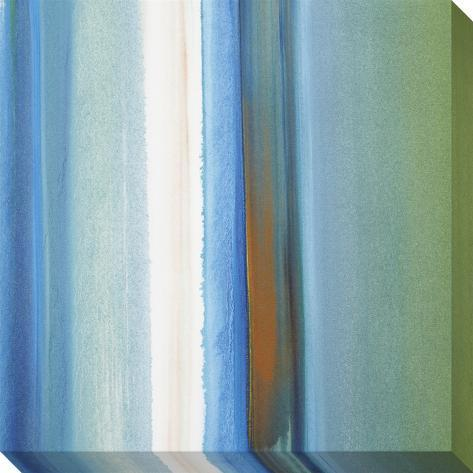 Blue, Green, White and Orange Soft Vertical Stripes Stretched Canvas Print
