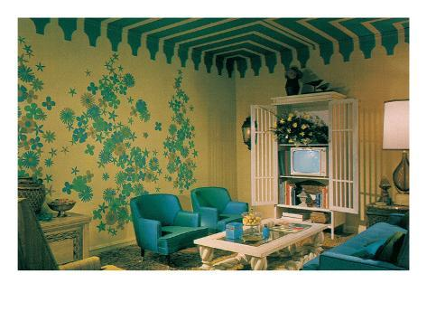 Blue Living Room Suite, Exotic Wallpaper Stretched Canvas Print