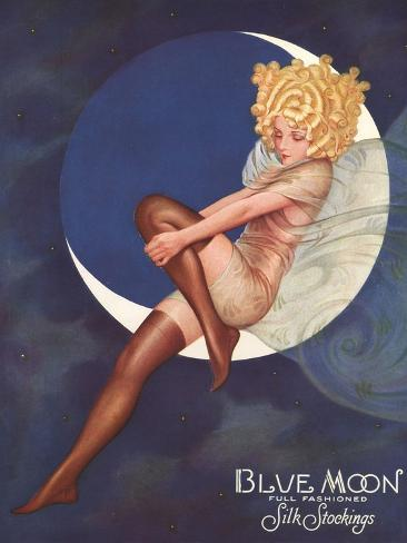Blue Moon Silk stockings, Womens Glamour Pin-Ups Nylons Hosiery, USA, 1920 Giclee Print
