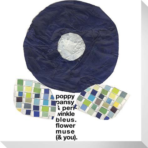 Blue Round Flower Stretched Canvas Print