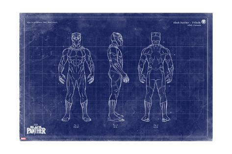 Blueprint black panther psters en allposters blueprint black panther malvernweather Gallery