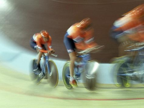 Blurred Action of Cycling Team on Velodrome, Sydney, Australia Photographic Print