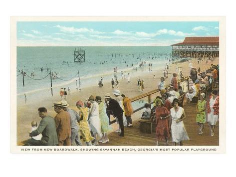 Boardwalk, Savannah Beach, Georgia Art Print