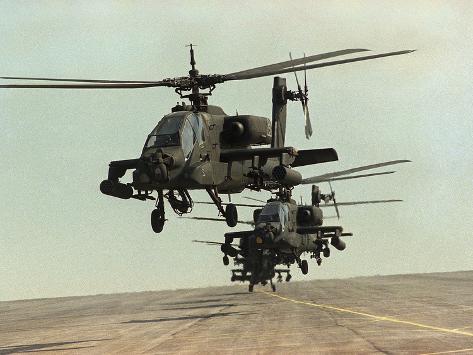 Saudi Arabia Army U.S. Forces Apache Assault Helicopters Kuwait Crisis Photographic Print