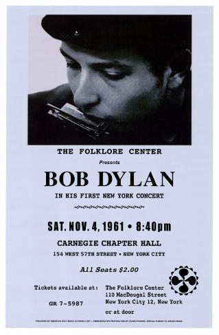 Bob Dylan, Carnegie Hall, 1961 Art Print