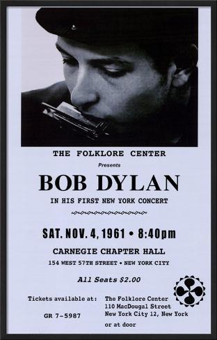 Bob Dylan, Carnegie Hall, 1961 Framed Art Print