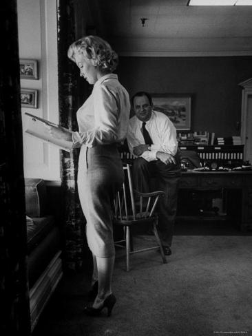 Actress Marilyn Monroe Looking over Script for Clifford Odets Movie