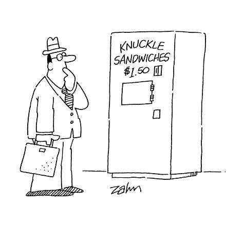 Man stares at vending machine selling, 'Knuckle Sandwiches $1.50.' - Cartoon Premium Giclee Print