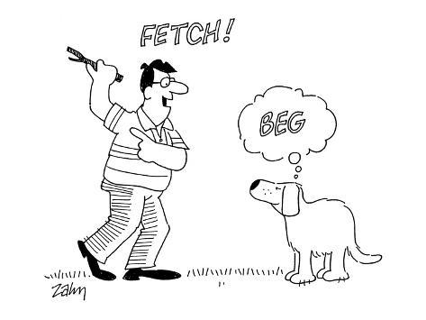 Man with stick, shouting 'Fetch!'  - Cartoon Premium Giclee Print