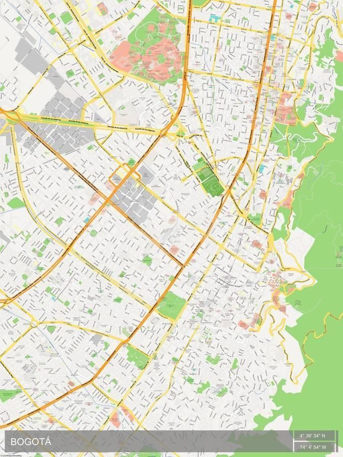 Bogota, Colombia Map Posters at AllPosters.com