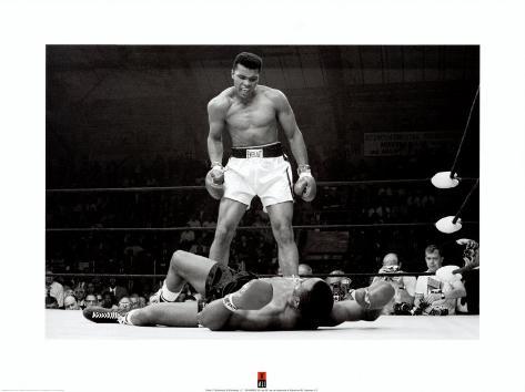 Bokser Muhammad Ali tegen Sonny Liston Kunstdruk