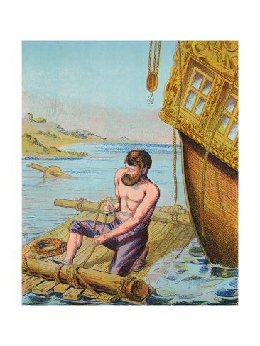 Book Illustration Of Robinson Crusoe Tying Together A Raft