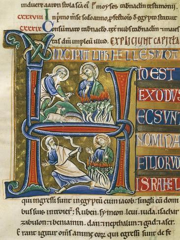 Book of Exodus, Moses and the Burning Bush, Miniature from the Bible of Souvigny Lámina giclée