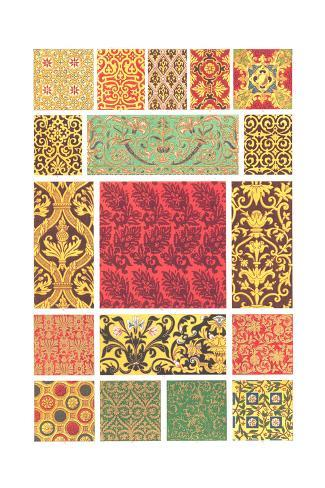 Book Pattern of Different Designs in Each Square Art Print