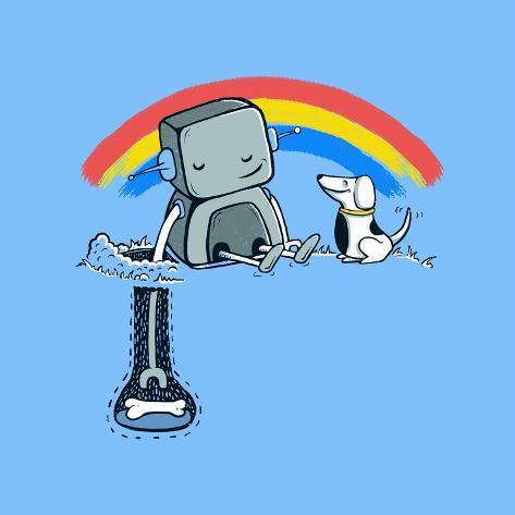 オールポスターズの ブーツ helping hand cute robot and dog ポスター